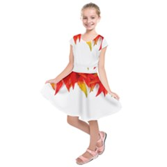 Abstract Autumn Background Bright Kids  Short Sleeve Dress