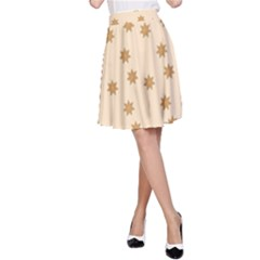 Pattern Gingerbread Star A Line Skirt