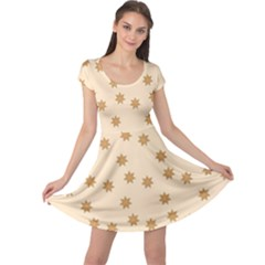 Pattern Gingerbread Star Cap Sleeve Dresses