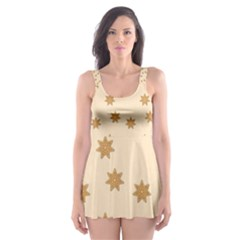 Pattern Gingerbread Star Skater Dress Swimsuit