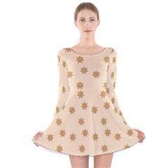 Pattern Gingerbread Star Long Sleeve Velvet Skater Dress