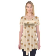 Pattern Gingerbread Star Short Sleeve Tunic