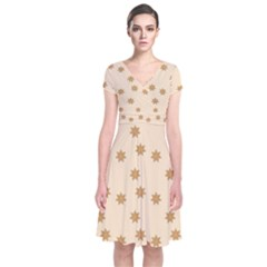 Pattern Gingerbread Star Short Sleeve Front Wrap Dress
