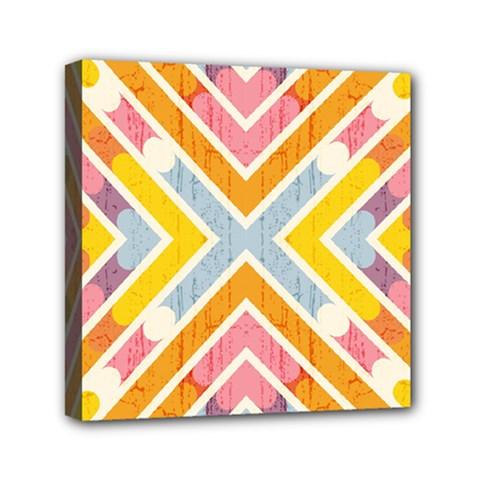 Line Pattern Cross Print Repeat Mini Canvas 6  x 6