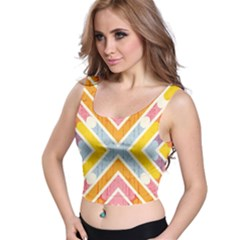 Line Pattern Cross Print Repeat Crop Top