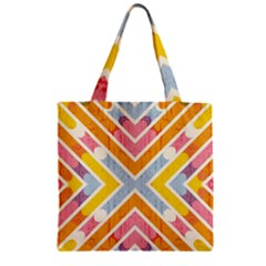 Line Pattern Cross Print Repeat Zipper Grocery Tote Bag