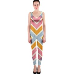 Line Pattern Cross Print Repeat OnePiece Catsuit