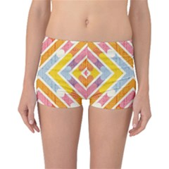 Line Pattern Cross Print Repeat Boyleg Bikini Bottoms
