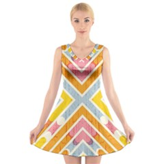 Line Pattern Cross Print Repeat V Neck Sleeveless Skater Dress