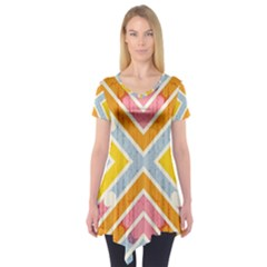 Line Pattern Cross Print Repeat Short Sleeve Tunic