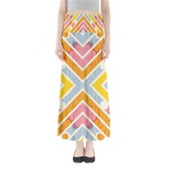 Line Pattern Cross Print Repeat Maxi Skirts