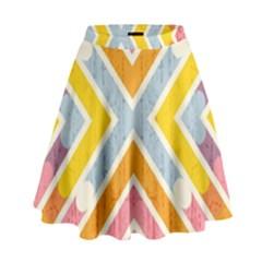 Line Pattern Cross Print Repeat High Waist Skirt