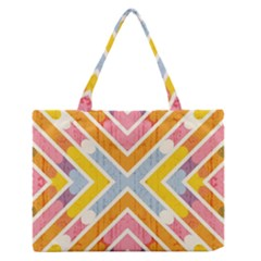 Line Pattern Cross Print Repeat Medium Zipper Tote Bag