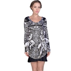 Pattern Motif Decor Long Sleeve Nightdress