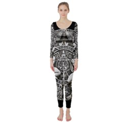 Pattern Motif Decor Long Sleeve Catsuit