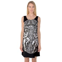 Pattern Motif Decor Sleeveless Satin Nightdress