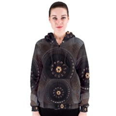 Pattern Design Symmetry Up Ceiling Women s Zipper Hoodie