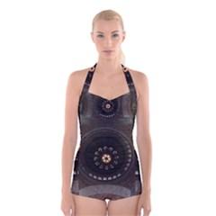 Pattern Design Symmetry Up Ceiling Boyleg Halter Swimsuit