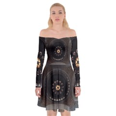 Pattern Design Symmetry Up Ceiling Off Shoulder Skater Dress