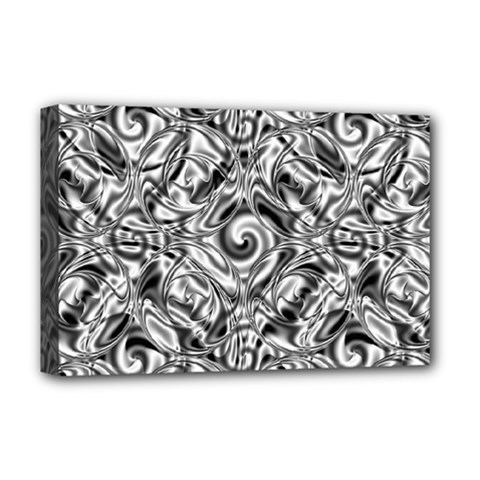 Gray Scale Pattern Tile Design Deluxe Canvas 18  x 12