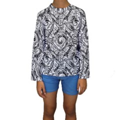 Gray Scale Pattern Tile Design Kids  Long Sleeve Swimwear