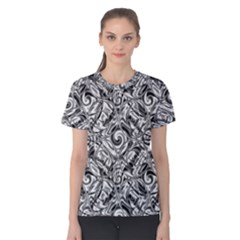 Gray Scale Pattern Tile Design Women s Cotton Tee