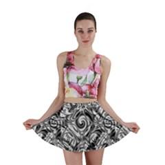 Gray Scale Pattern Tile Design Mini Skirt