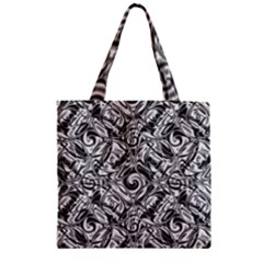 Gray Scale Pattern Tile Design Zipper Grocery Tote Bag