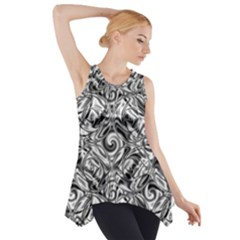 Gray Scale Pattern Tile Design Side Drop Tank Tunic