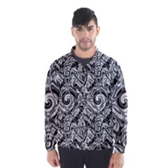 Gray Scale Pattern Tile Design Wind Breaker (men)
