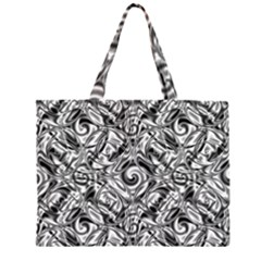 Gray Scale Pattern Tile Design Zipper Large Tote Bag