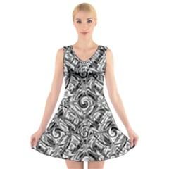 Gray Scale Pattern Tile Design V Neck Sleeveless Skater Dress
