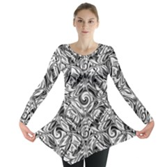 Gray Scale Pattern Tile Design Long Sleeve Tunic