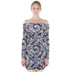 Gray Scale Pattern Tile Design Long Sleeve Off Shoulder Dress