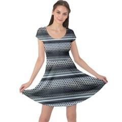 Sheet Holes Roller Shutter Cap Sleeve Dresses