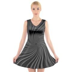 Abstract Art Color Design Lines V Neck Sleeveless Skater Dress