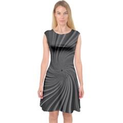 Abstract Art Color Design Lines Capsleeve Midi Dress