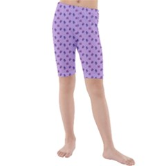 Pattern Background Violet Flowers Kids  Mid Length Swim Shorts