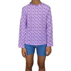 Pattern Background Violet Flowers Kids  Long Sleeve Swimwear