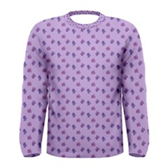 Pattern Background Violet Flowers Men s Long Sleeve Tee