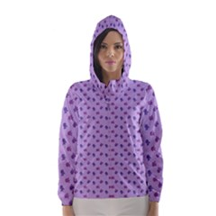 Pattern Background Violet Flowers Hooded Wind Breaker (Women)