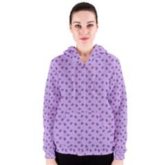 Pattern Background Violet Flowers Women s Zipper Hoodie
