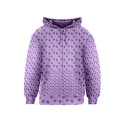 Pattern Background Violet Flowers Kids  Zipper Hoodie