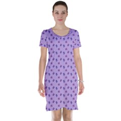 Pattern Background Violet Flowers Short Sleeve Nightdress
