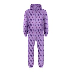 Pattern Background Violet Flowers Hooded Jumpsuit (Kids)