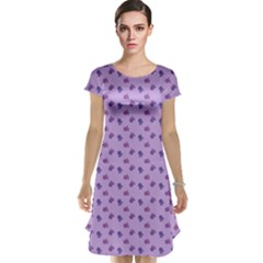 Pattern Background Violet Flowers Cap Sleeve Nightdress