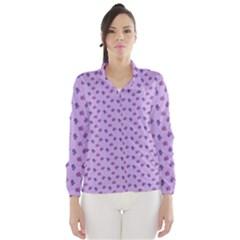 Pattern Background Violet Flowers Wind Breaker (Women)