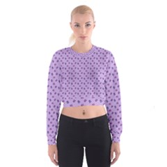 Pattern Background Violet Flowers Cropped Sweatshirt