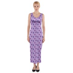 Pattern Background Violet Flowers Fitted Maxi Dress