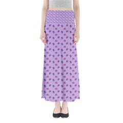 Pattern Background Violet Flowers Maxi Skirts